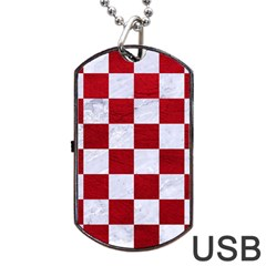 Square1 White Marble & Red Leather Dog Tag Usb Flash (two Sides) by trendistuff