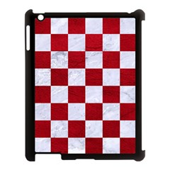 Square1 White Marble & Red Leather Apple Ipad 3/4 Case (black) by trendistuff
