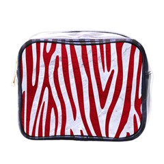 Skin4 White Marble & Red Leather Mini Toiletries Bags by trendistuff