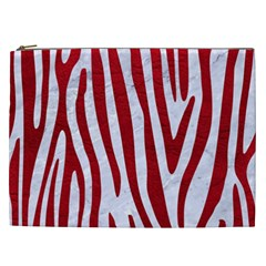 Skin4 White Marble & Red Leather Cosmetic Bag (xxl)  by trendistuff