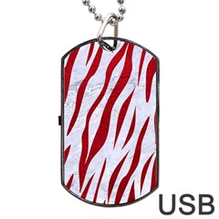 Skin3 White Marble & Red Leather (r) Dog Tag Usb Flash (one Side) by trendistuff