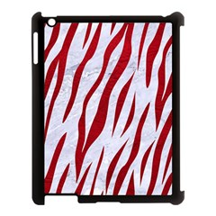 Skin3 White Marble & Red Leather (r) Apple Ipad 3/4 Case (black) by trendistuff