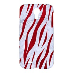 Skin3 White Marble & Red Leather (r) Samsung Galaxy S4 I9500/i9505 Hardshell Case by trendistuff