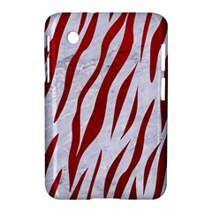 Skin3 White Marble & Red Leather (r) Samsung Galaxy Tab 2 (7 ) P3100 Hardshell Case  by trendistuff