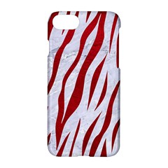 Skin3 White Marble & Red Leather (r) Apple Iphone 8 Hardshell Case by trendistuff