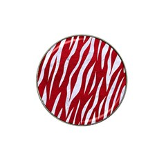 Skin3 White Marble & Red Leather Hat Clip Ball Marker (10 Pack) by trendistuff