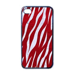 Skin3 White Marble & Red Leather Apple Iphone 4 Case (black) by trendistuff