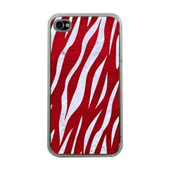 Skin3 White Marble & Red Leather Apple Iphone 4 Case (clear) by trendistuff