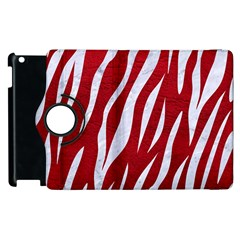 Skin3 White Marble & Red Leather Apple Ipad 2 Flip 360 Case by trendistuff