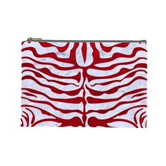 Skin2 White Marble & Red Leather (r) Cosmetic Bag (large)  by trendistuff