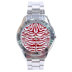 Skin2 White Marble & Red Leather (r) Stainless Steel Analogue Watch by trendistuff