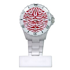 Skin2 White Marble & Red Leather (r) Plastic Nurses Watch by trendistuff