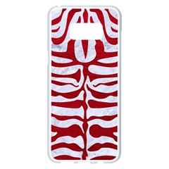 Skin2 White Marble & Red Leather (r) Samsung Galaxy S8 Plus White Seamless Case by trendistuff