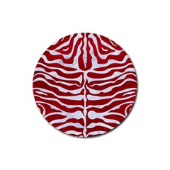 Skin2 White Marble & Red Leather Rubber Round Coaster (4 Pack)  by trendistuff