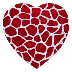 Skin1 White Marble & Red Leather (r) Jigsaw Puzzle (heart) by trendistuff