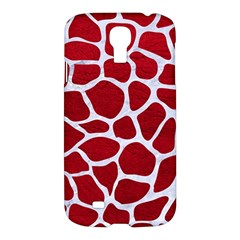 Skin1 White Marble & Red Leather (r) Samsung Galaxy S4 I9500/i9505 Hardshell Case