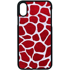 Skin1 White Marble & Red Leather (r) Apple Iphone X Seamless Case (black)
