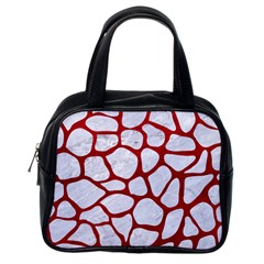 Skin1 White Marble & Red Leather Classic Handbags (one Side)