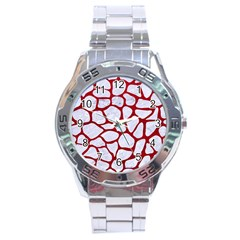 Skin1 White Marble & Red Leather Stainless Steel Analogue Watch by trendistuff