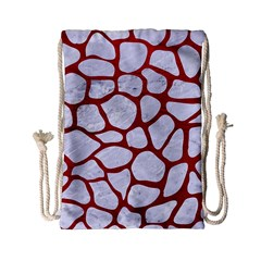 Skin1 White Marble & Red Leather Drawstring Bag (small)