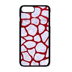 Skin1 White Marble & Red Leather Apple Iphone 8 Plus Seamless Case (black) by trendistuff