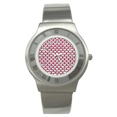 Scales3 White Marble & Red Leather (r) Stainless Steel Watch by trendistuff
