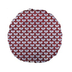 Scales3 White Marble & Red Leather (r) Standard 15  Premium Flano Round Cushions by trendistuff