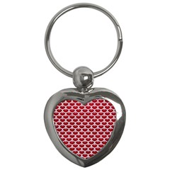 Scales3 White Marble & Red Leather Key Chains (heart)  by trendistuff