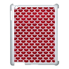 Scales3 White Marble & Red Leather Apple Ipad 3/4 Case (white) by trendistuff
