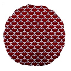 Scales3 White Marble & Red Leather Large 18  Premium Round Cushions by trendistuff
