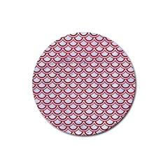 Scales2 White Marble & Red Leather (r) Rubber Round Coaster (4 Pack)  by trendistuff