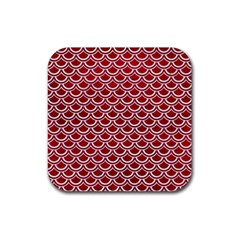 Scales2 White Marble & Red Leather Rubber Square Coaster (4 Pack)  by trendistuff