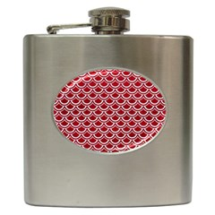 Scales2 White Marble & Red Leather Hip Flask (6 Oz) by trendistuff