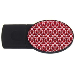 Scales2 White Marble & Red Leather Usb Flash Drive Oval (2 Gb) by trendistuff
