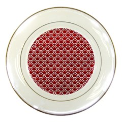 Scales2 White Marble & Red Leather Porcelain Plates by trendistuff