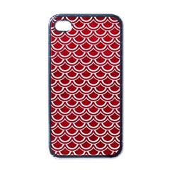 Scales2 White Marble & Red Leather Apple Iphone 4 Case (black) by trendistuff