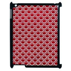 Scales2 White Marble & Red Leather Apple Ipad 2 Case (black) by trendistuff