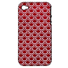 Scales2 White Marble & Red Leather Apple Iphone 4/4s Hardshell Case (pc+silicone) by trendistuff