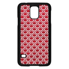 Scales2 White Marble & Red Leather Samsung Galaxy S5 Case (black) by trendistuff