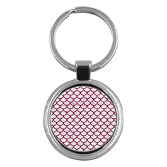 Scales1 White Marble & Red Leather (r) Key Chains (round)