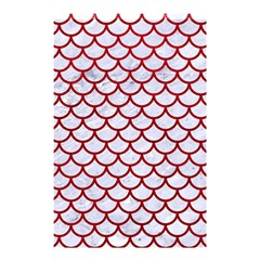 Scales1 White Marble & Red Leather (r) Shower Curtain 48  X 72  (small)  by trendistuff