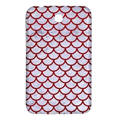Scales1 White Marble & Red Leather (r) Samsung Galaxy Tab 3 (7 ) P3200 Hardshell Case  by trendistuff
