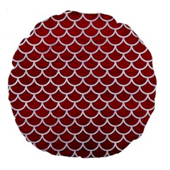 Scales1 White Marble & Red Leather Large 18  Premium Round Cushions by trendistuff