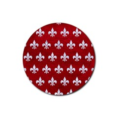 Royal1 White Marble & Red Leather (r) Rubber Coaster (round)  by trendistuff