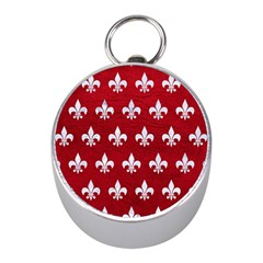Royal1 White Marble & Red Leather (r) Mini Silver Compasses