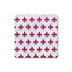 Royal1 White Marble & Red Leather Square Magnet by trendistuff