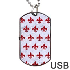 Royal1 White Marble & Red Leather Dog Tag Usb Flash (one Side) by trendistuff