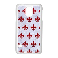 Royal1 White Marble & Red Leather Samsung Galaxy S5 Case (white) by trendistuff