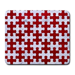 Puzzle1 White Marble & Red Leather Large Mousepads by trendistuff
