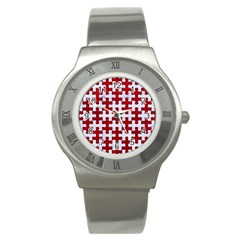 Puzzle1 White Marble & Red Leather Stainless Steel Watch